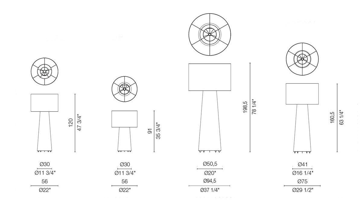 Desk Lamp Dimensions : Buy the cappellini big shadow floor lamp at deplain