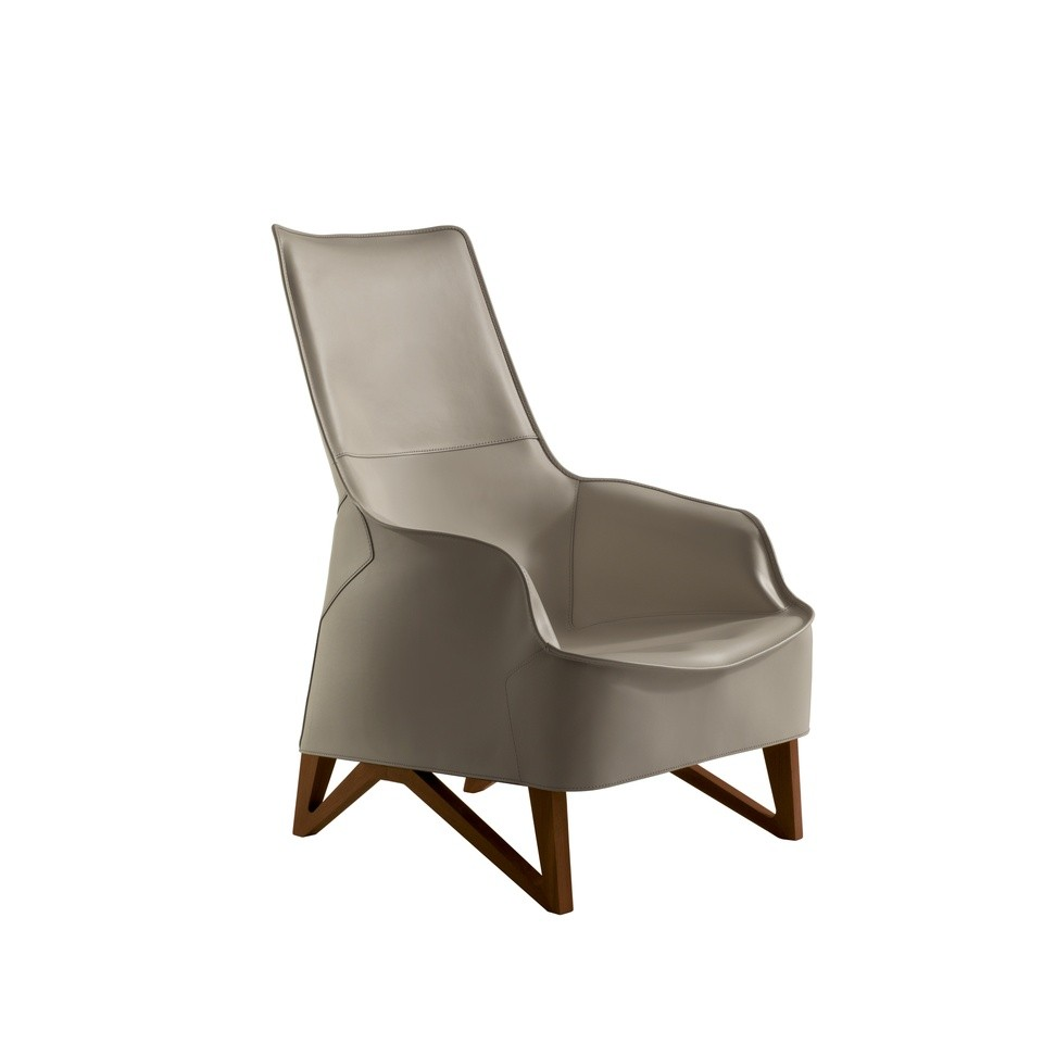 Giorgetti Mobius 62940 Saddle Leather Wing Armchair